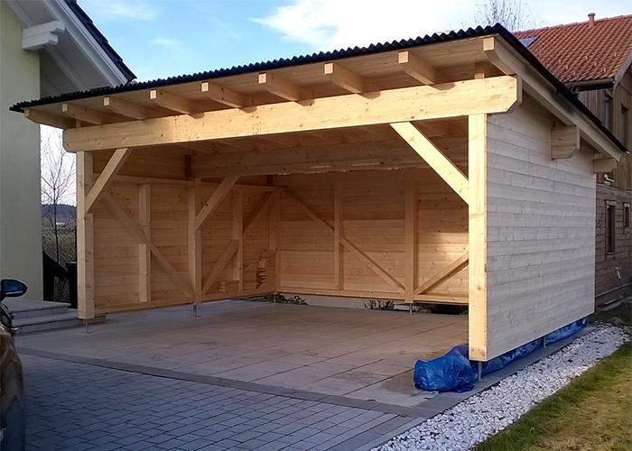Doppelgarage pultdach  Holz-Carport nach Maß Projektfotos von Kunden
